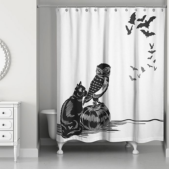 Alternate image 1 for Halloween Friends Shower Curtain in Black/White