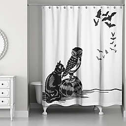 Halloween Friends Shower Curtain in Black/White