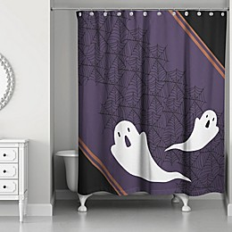 Ghost Pals Shower Curtain in Black/Purple