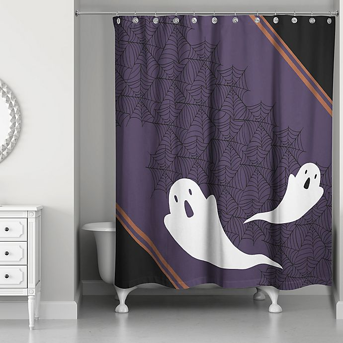 Alternate image 1 for Ghost Pals Shower Curtain in Black/Purple