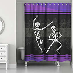 Dance Skeleton Shower Curtain in Purple/Black