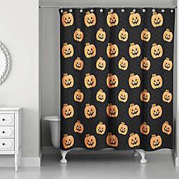 Pumpkin Patch Shower Curtain in Black/Orange