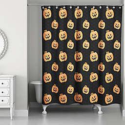 Pumpkin Patch Shower Curtain in Black/Orange