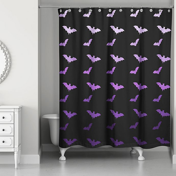 all the bats shower curtain in purple black bed bath beyond. Black Bedroom Furniture Sets. Home Design Ideas