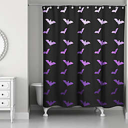 All The Bats Shower Curtain in Purple/Black
