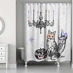 Watercolored Festive Animals Shower Curtain in White/Black
