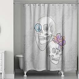 Skelton Ritz Shower Curtain in Grey/White