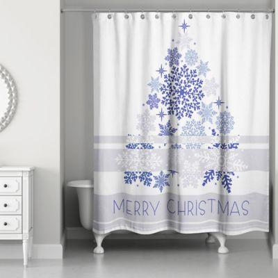 Christmas Shower Curtain.Elegant Blue Christmas Shower Curtain In White Blue