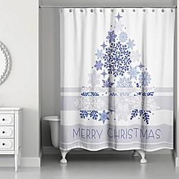 Elegant Blue Christmas Shower Curtain in White/Blue