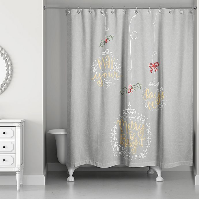 Alternate image 1 for Merry and Bright Shower Curtain in Grey/Gold