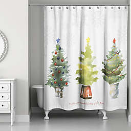 Most Wonderful Time Shower Curtain in White/Green