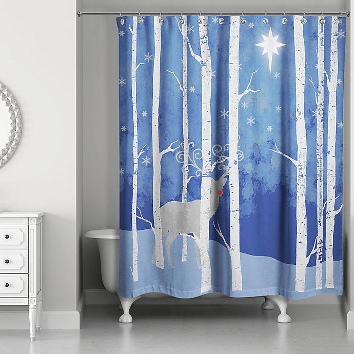Reindeer Starry Night Shower Curtain In Blue White