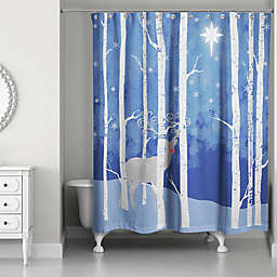 Reindeer Starry Night Shower Curtain in Blue/White