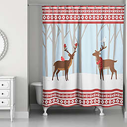 Winter Deer Shower Curtain In Red Blue