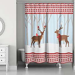 Winter Deer Shower Curtain in Red/Blue