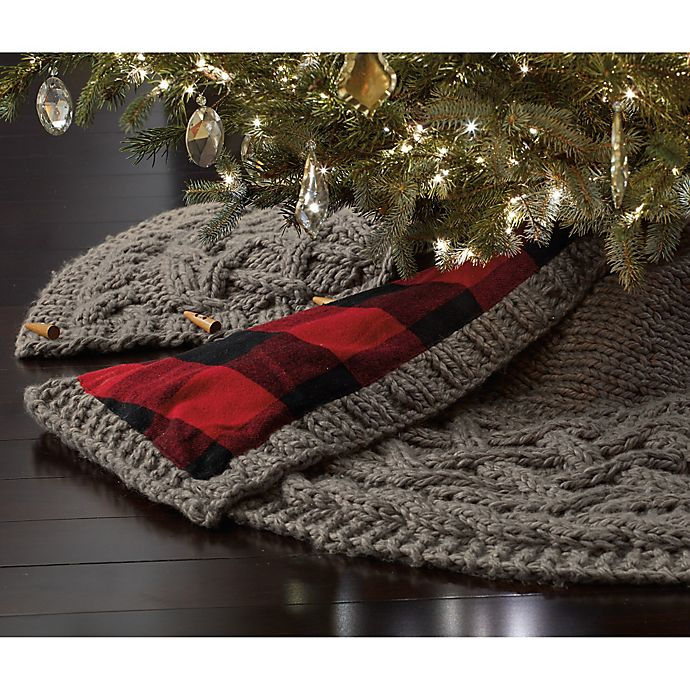 Beekman 1802 Heirloom Holiday Chunky Knit Tree Skirt In Grey