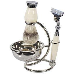 Kingsley Men 4-Piece Shave Brush Set in Ivory
