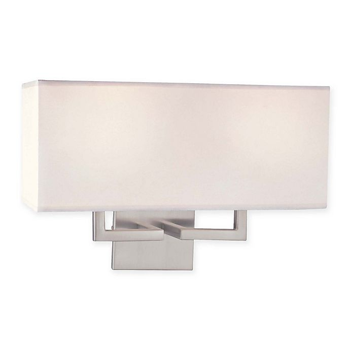 Alternate image 1 for 2-Light Wall Sconce in Brushed Nickel with Fabric Shade