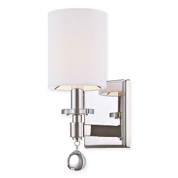 Alternate image 1 for Chadbourne 1-Light Wall-Sconce in Nickel with Cloth Shade