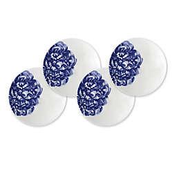 Caskata Peony Canapé Plates in Blue (Set of 4)