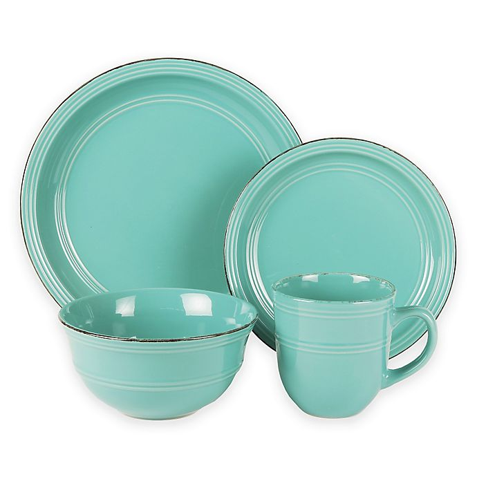 Alternate image 1 for American Atelier Madelyn 16-Piece Dinnerware Set in Aqua