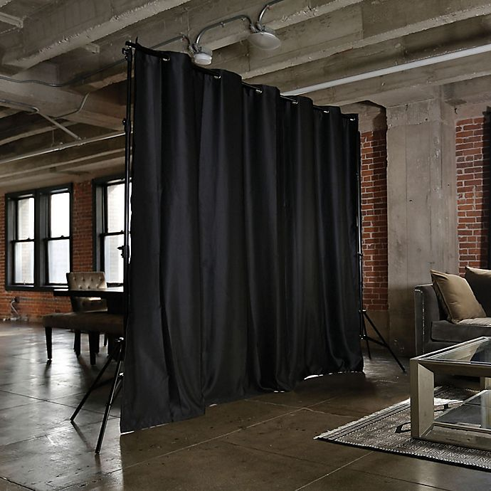 Alternate image 1 for RoomDividersNow Medium Freestanding Room Divider Kit B with 9-Foot Curtain Panel in Black