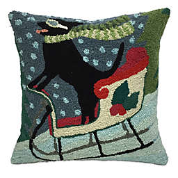 Front Porch Sledding Dog Square Throw Pillow
