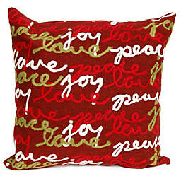 Trans-Ocean Visions III Peace Love Joy Square Throw Pillow in Red