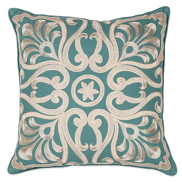 Alternate image 1 for Kas® Damask Square Throw Pillow in Teal