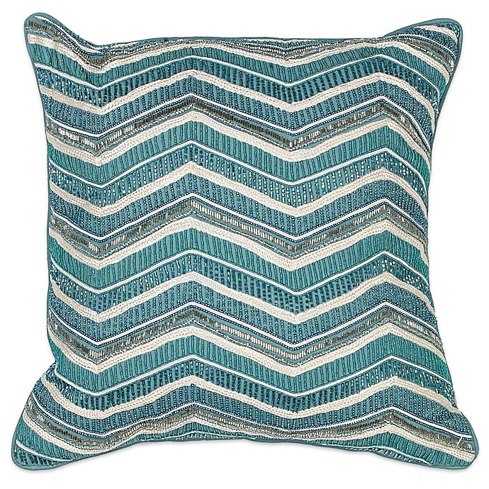 Alternate image 1 for Kas® Chevron Square Throw Pillow in Teal