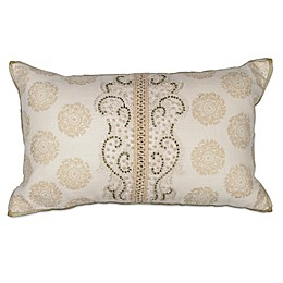 Kas® Damask Oblong Throw Pillow in Ivory