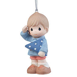 Precious Moments® You're My Hero Boy Saluting with Flag Ornament