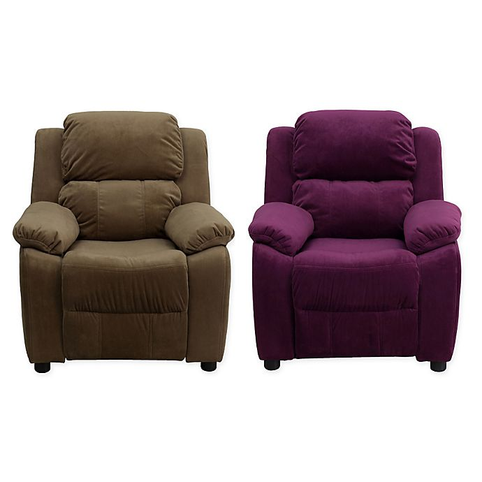 Alternate image 1 for Flash Furniture Microfiber Kids Recliner with Storage Arms