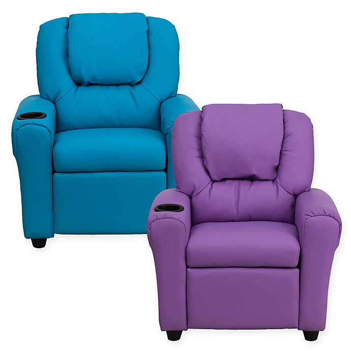 Alternate image 1 for Flash Furniture Vinyl Kids Recliner with Headrest and Cup Holder