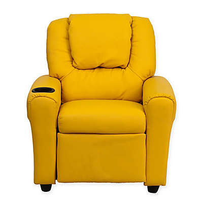 Flash Furniture Vinyl Kids Recliner with Headrest and Cup Holder