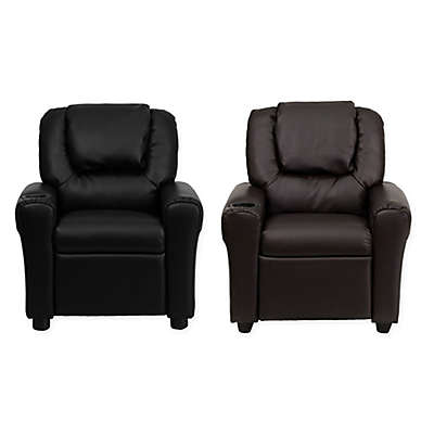 Flash Furniture Leather Kids Recliner with Headrest and Cup Holder