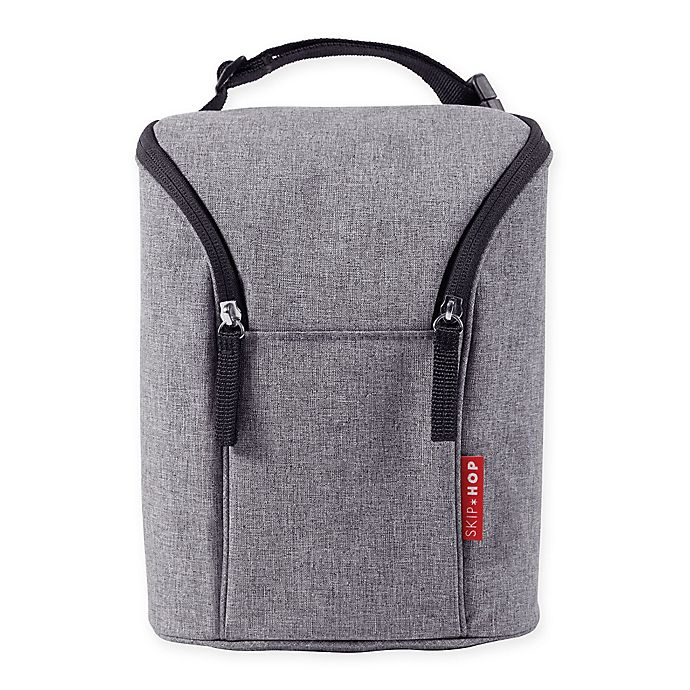 Alternate image 1 for Skip*Hop® Grab & Go Double Bottle Bag in Heather Grey