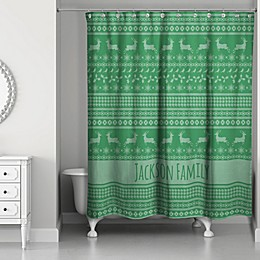 Christmas Sweater Shower Curtain in Green