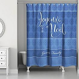 Snowflake Joy Shower Curtain in Blue/White
