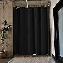 RoomDividersNow Large Tension Rod Room Divider Kit A with 8-Foot Curtain Panel in Black