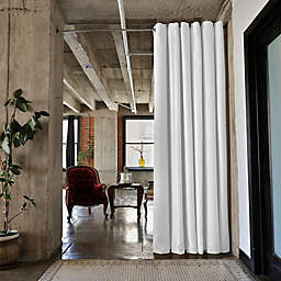 RoomDividersNow Small Tension Rod Room Divider Kit A with 8-Foot Curtain Panel in White