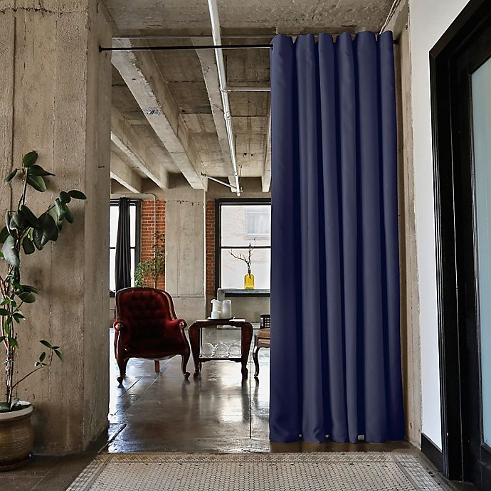 Alternate image 1 for RoomDividersNow Small Tension Rod Room Divider Kit A with 8-Foot Curtain Panel in Blue