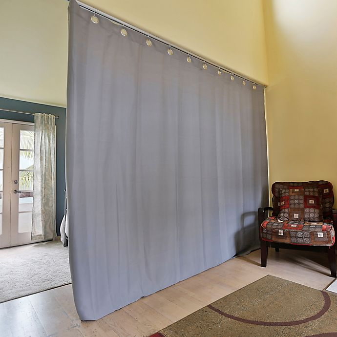 Alternate image 1 for RoomDividersNow Medium Ceiling Track Room Divider Kit B with 9-Foot Curtain Panel in Grey
