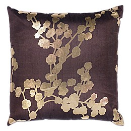 Kas Chocolate Flora Floral 18-Inch Square Throw Pillow in Chocolate
