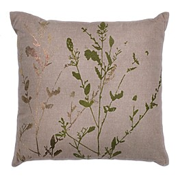 Kas Natural Branches Foil 18-Inch Square Throw Pillow in Beige/Green