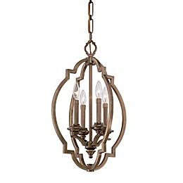 Metropolitan® Leicester 4-Light Foyer Pendant in Aged Brass