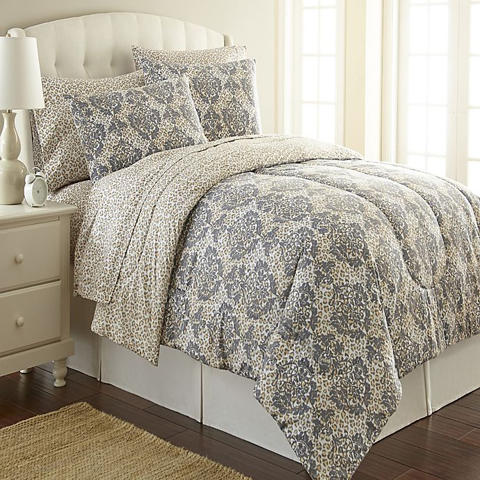 Alternate image 1 for Micro Flannel® Twin Comforter Set in Leopard Damask