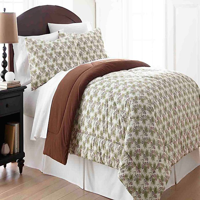 Alternate image 1 for Micro Flannel® Comforter Set in Pinecone