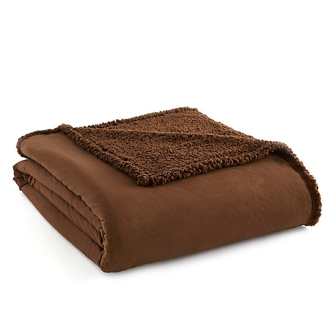 Alternate image 1 for Micro Flannel® to Sherpa Full/Queen Blanket in Chocolate