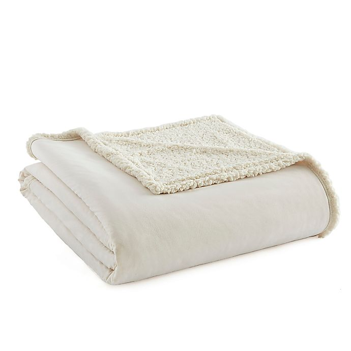 Alternate image 1 for Micro Flannel® to Sherpa Full/Queen Blanket in Ivory